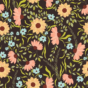 Sunflower and daisies pattern