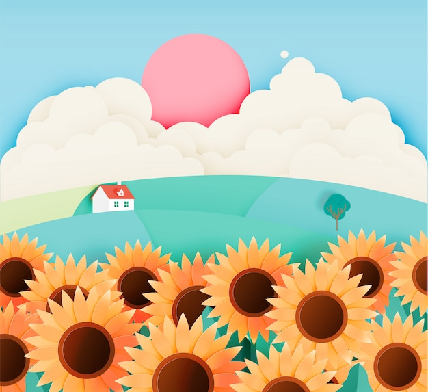 Sunflower field with paper art style