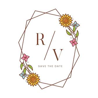Шаблон логотипа подсолнечника цветочная рамка в белом