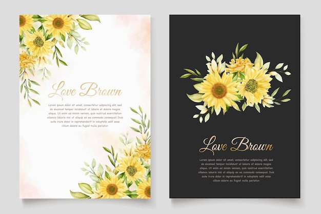 Sunflower floral invitation card set
