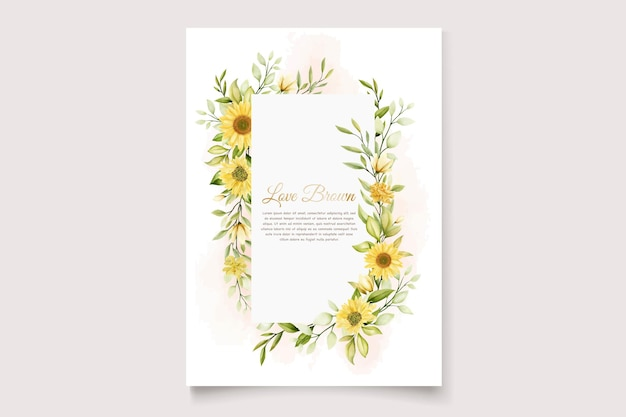 해바라기 꽃 초대 카드 세트
