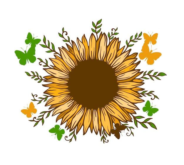 Цветочная природа подсолнечника. летний цветок, изолированные на белом фоне. ботанический дикий цветок. векторные иллюстрации.