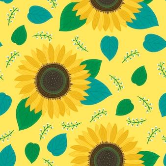 Бесшовный узор цветок подсолнечника на желтом фоне