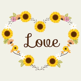 The sunflower for flower wreath or flowerring look like heart in flat vector style.