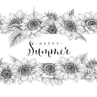 Sunflower flowers drawing.