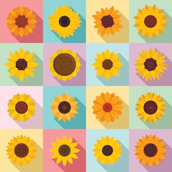 Sunflower icons set, flat style