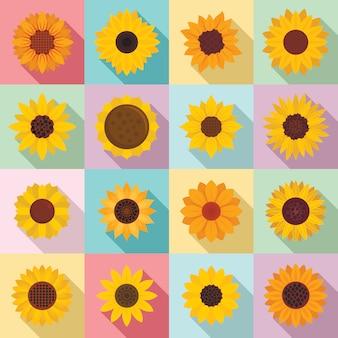 Sunflower icons set, flat style