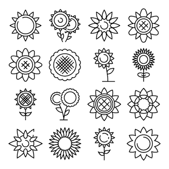 Sunflower icons set, outline style
