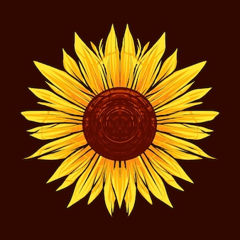 Sunflower illustration with antique style, vintage and old impression. suitable for t-shirts, prints and other apparel products