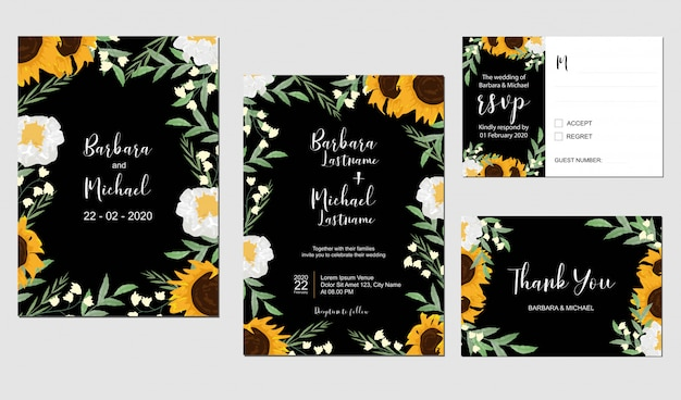 Sunflower and lily of the valley wedding template