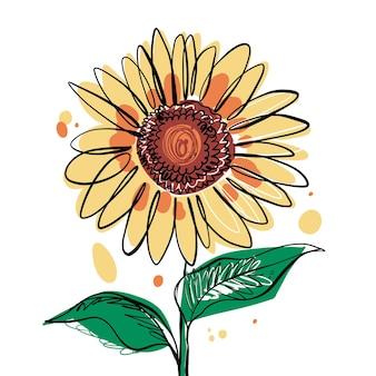 Sunflower line art