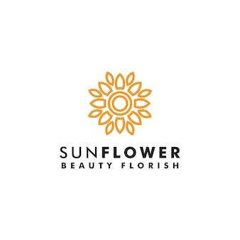 Подсолнечник дизайн логотипа солнце значок символ логотип цветок вектор