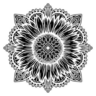 해바라기 만다라 꽃 자연 식물 그림 개념