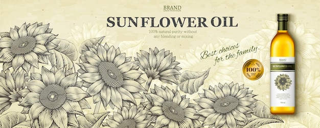 Реклама подсолнечного масла в стиле гравюры с реалистичным продуктом на сцене цветочного сада