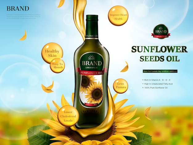Sunflower oil contaed glass bottle with oil flow element, sunflower farm