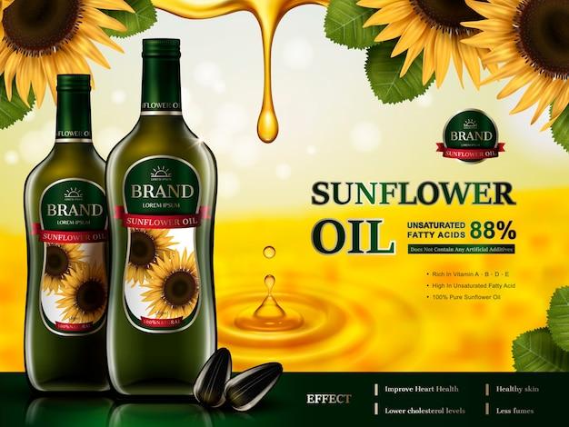 Стеклянные бутылки с подсолнечным маслом, элементы подсолнечника и золотые капли масла
