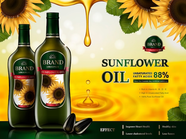 Sunflower oil contaed glass bottles, sunflower elements and golden oil drops