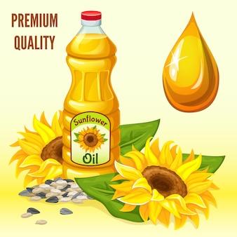 Подсолнечное масло, цветы, семена и листья.