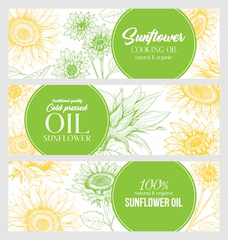 Sunflower oil hand drawn banner