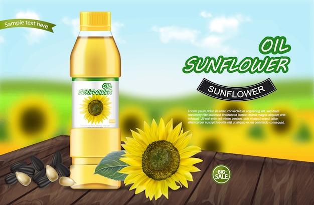Sunflower oil realistic banner