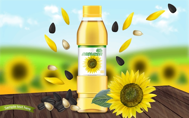 Sunflower oil realistic