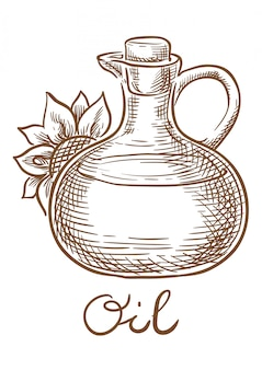 Sunflower oil vector sketch hand drawing