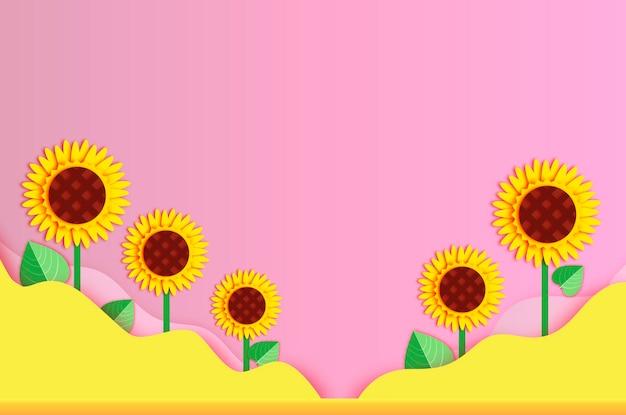 ひまわり紙カット風。ピンク黄色の波の背景。テキスト用のスペース。