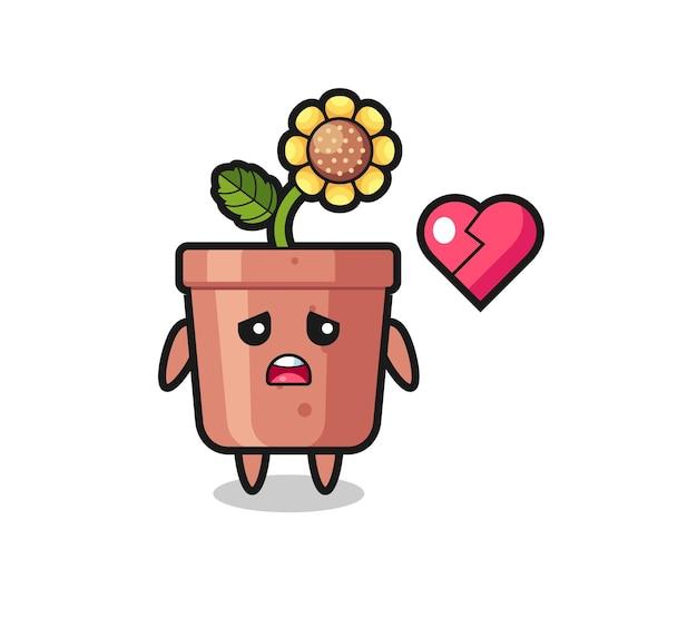Иллюстрация шаржа горшка подсолнечника разбитое сердце, милый дизайн стиля для футболки, стикер, элемент логотипа