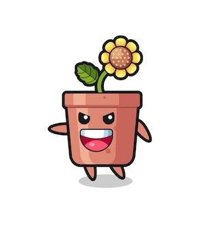 Sunflower pot cartoon with very excited pose , cute style design for t shirt, sticker, logo element