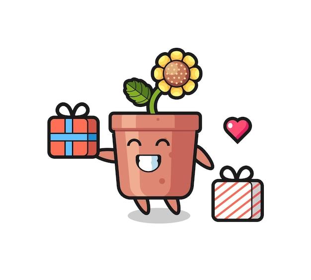 선물을 주는 해바라기 냄비 마스코트 만화, 티셔츠, 스티커, 로고 요소를 위한 귀여운 스타일 디자인