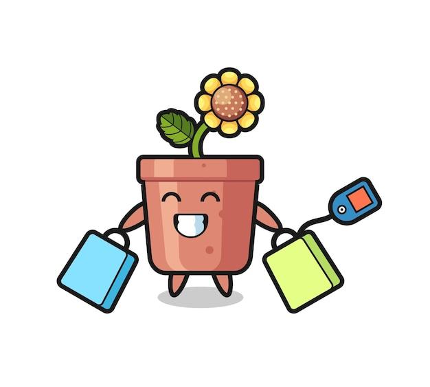 쇼핑백을 들고 있는 해바라기 냄비 마스코트 만화, 티셔츠, 스티커, 로고 요소를 위한 귀여운 스타일 디자인