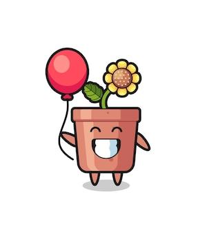 Иллюстрация талисмана горшка подсолнечника играет на воздушном шаре, милый стиль дизайна для футболки, наклейки, элемента логотипа