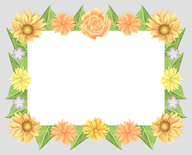 Sunflower, rose flowers and leaves frame decoration