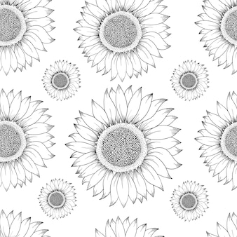 Sunflower seamless pattern. hand drawn illustration. food ingredient vintage sketch.