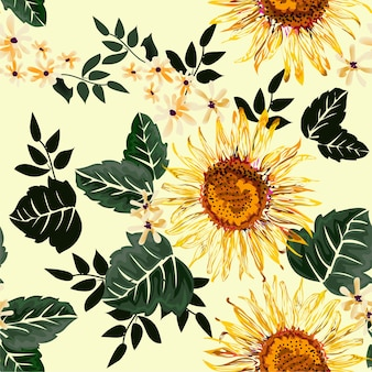 Sunflower seamless pattern on light yellow