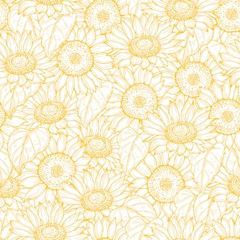 Sunflower seamless pattern. line yellow flowers texture background