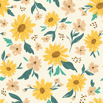 Sunflower seamless pattern. yellow daisy.