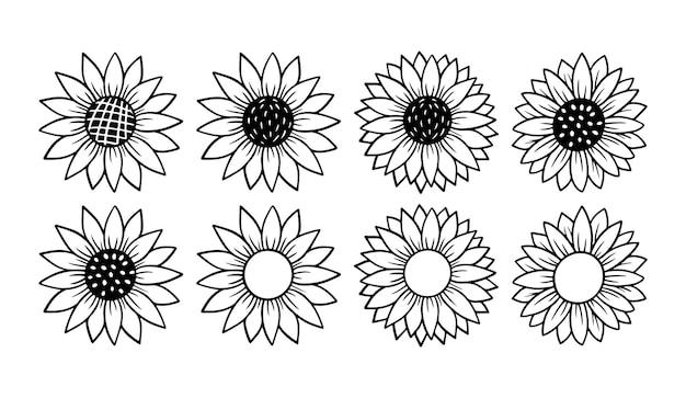 ひまわりのシンプルなアイコン。花のシルエットのベクトル図です。ひまわりのグラフィックロゴ、パッケージ、装飾のための手描きのアイコン。花びらフレーム、白い背景で隔離の黒いシルエット