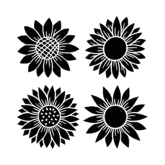 ひまわりシンプルなアイコンセット。花のシルエットのベクトル図です。ひまわりのグラフィックロゴコレクション、パッケージ、装飾のための手描きのアイコン。花びらフレーム、白い背景で隔離の黒いシルエット。