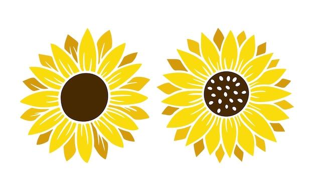 Набор простых иконок подсолнечника. цветочный силуэт векторные иллюстрации. коллекция графических логотипов подсолнечника, рисованной значок для упаковки, декора. рамка из лепестков, черный силуэт на белом фоне. Premium векторы