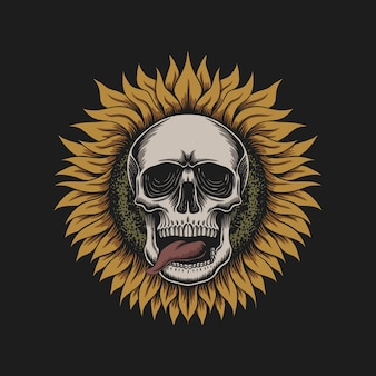 Sunflower skull illustration