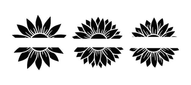 Набор расколотых монограмм подсолнечник. цветочный силуэт векторные иллюстрации. коллекция графических логотипов подсолнечника, рисованной значок для упаковки, декора. рамка из лепестков, черный силуэт, изолированные на белом фоне