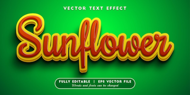 Sunflower text effect with editable text style