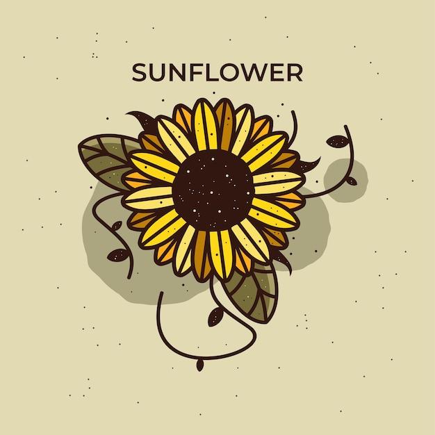 Подсолнечник векторные иллюстрации подсолнечник старинный значок ботанические цветочные иллюстрации