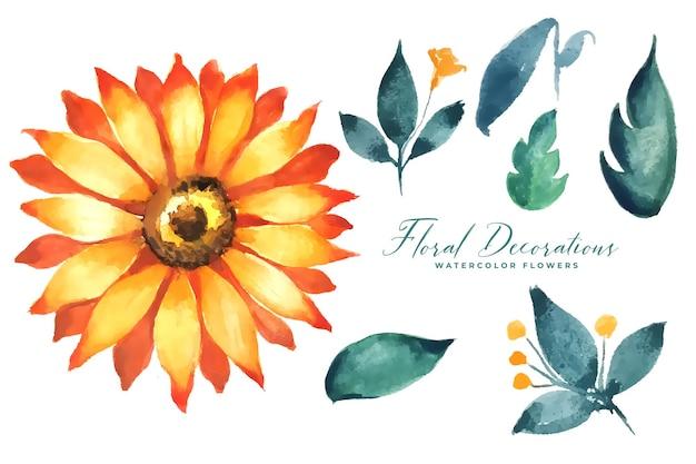 해바라기 수채화 꽃과 나뭇잎 컬렉션