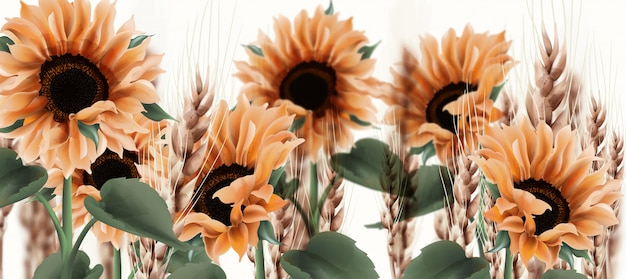 Sunflower watercolor . vintage rustic style floral decors