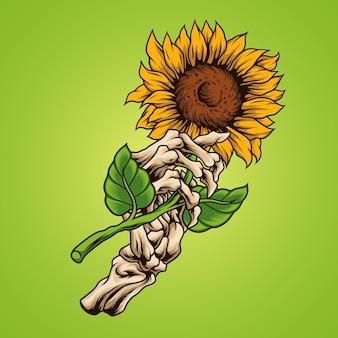 Sunflower with bone hand illustration