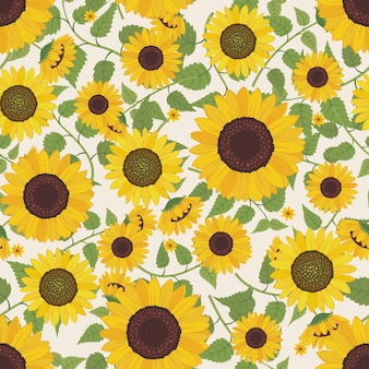 Sunflower with branch and leaves pattern background