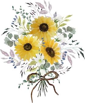 緑の葉とヒマワリ花束水彩手描き装飾
