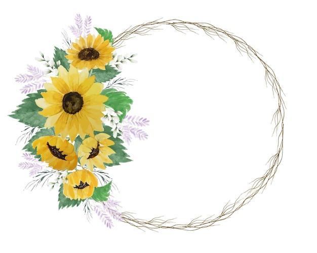 小さな枝の棒と緑の葉とヒマワリラウンドフレーム装飾花輪